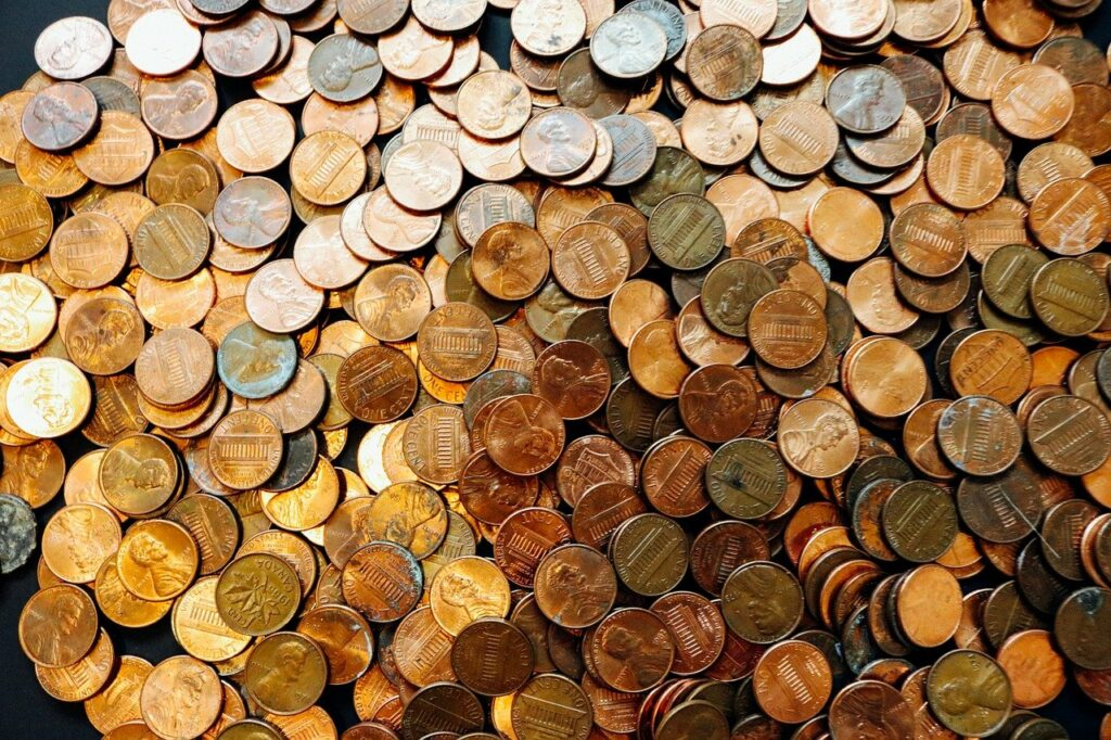 coins, pennies, money